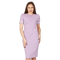 Jolie Moi - Light purple lace trimmed fold detail bodycon dress