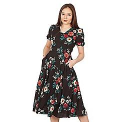 Jolie Moi - Black floral print bow detail tea dress