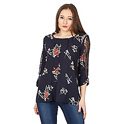 Izabel London - Multicoloured lace sleeve detail blouse top