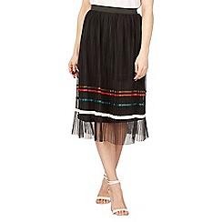 Izabel London - Black striped mesh skirt