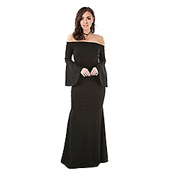 Be Jealous - Black bardot frill sleeves maxi dress