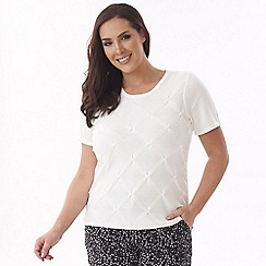 Lavitta - White pearl detail knitted top