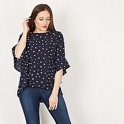 Izabel London - Navy polka dot flare sleeves blouse