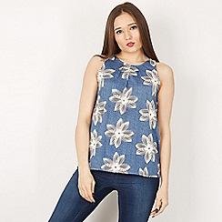 Izabel London - Blue sleeveless printed top