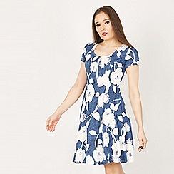 Izabel London - Blue floral dazzle skater dress