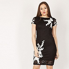 Izabel London - Black leaf cornelli lace dress