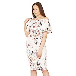 Izabel London - Multicoloured floral print bardot dress