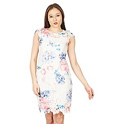Izabel London - White floral print lace dress