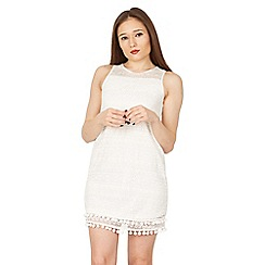 Izabel London - White bobble trim detail lace dress