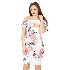 Izabel London - White frill detail floral print bardot dress