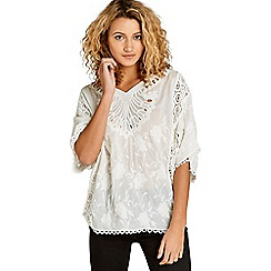 Apricot - Cream lace crinkle batwing top