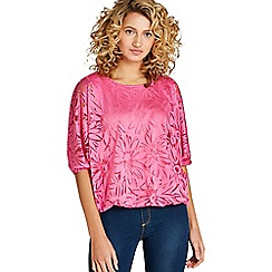 Apricot - Bright pink floral batwing top