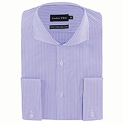 Double Two - Lilac stripe double cuff formal shirt