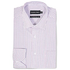 Double Two - Pink grid check formal shirt