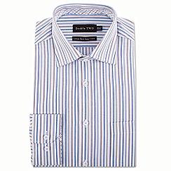Double Two - Brown multi stripe formal shirt