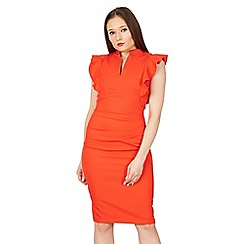 Jolie Moi - Bright red frill should detail bodycon dress