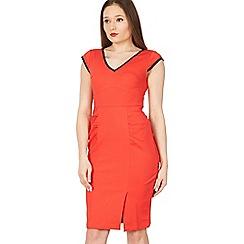 Jolie Moi - Red trimmed v neck cap sleeve bodycon dress