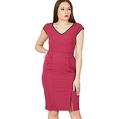 Jolie Moi - Dark red trimmed v neck cap sleeve bodycon dress