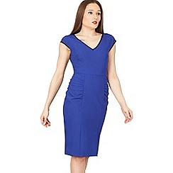 Jolie Moi - Blue trimmed v neck cap sleeve bodycon dress