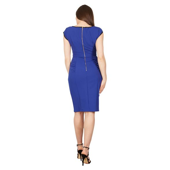 trimmed Blue Moi dress neck sleeve v Jolie cap bodycon wR7EqBRx