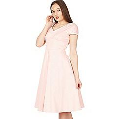 Jolie Moi - Light pink trimmed v neck cap sleeve swing dress