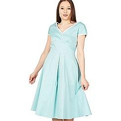 Jolie Moi - Light green trimmed v neck cap sleeve swing dress
