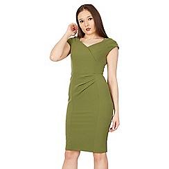 Jolie Moi - Green fold detail bodycon dress