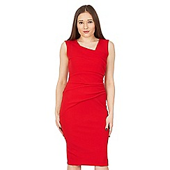 Feverfish - Red side pleated bodycon dress