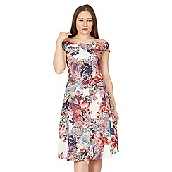 Feverfish - Multicoloured bardot print flared dress