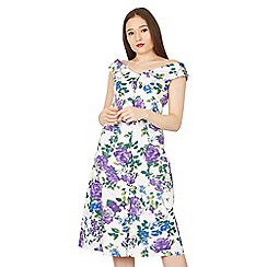 Feverfish - Purple bardot 50s print flared dress
