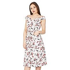 Feverfish - White bardot 50s print flared dress