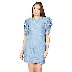 Blue Vanilla - Blue mutton sleeve lace dress