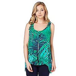 Roman Originals - Green tropical print asymmetric top