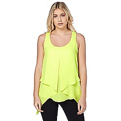 Roman Originals - Lime sleeveless asymmetric hem top