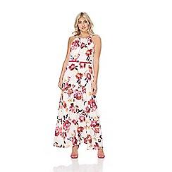 Roman Originals - Pink floral belted maxi dress