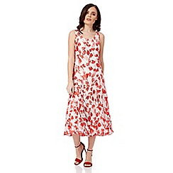 Roman Originals - Red poppy print bias cut dress