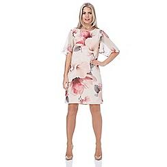 Roman Originals - Light pink all over floral print chiffon dress