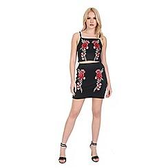 Be Jealous - Black floral rose embroidered top mini skirt set