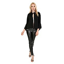 Be Jealous - Black frill long sleeve open front cardigan