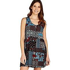 Apricot - Blue patchwork print smock dress