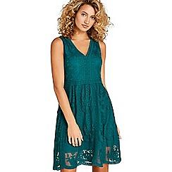 Apricot - Green mesh a-line dress