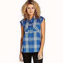 Apricot - Blue check print utility shirt