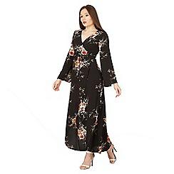 Izabel London - Black floral wrap maxi dress