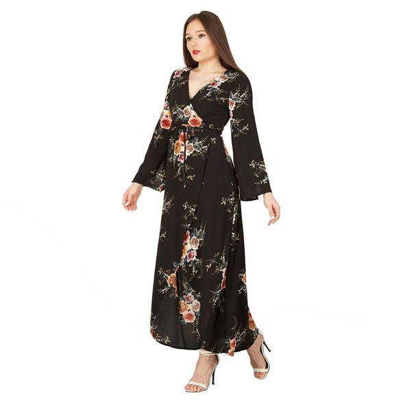 London floral Black dress maxi Izabel wrap Bw6877