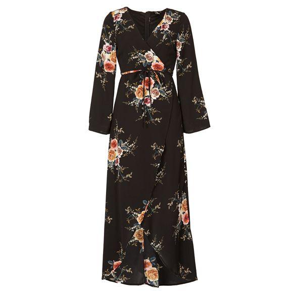 Izabel wrap maxi London Black dress floral pPwrnz0qp7