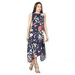 Izabel London - Navy sleeveless floral print midi dress