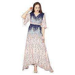 Izabel London - Pink asymmetric floral print wrap dress