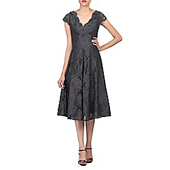 Jolie Moi - Dark grey cap sleeves fit & flare lace dress