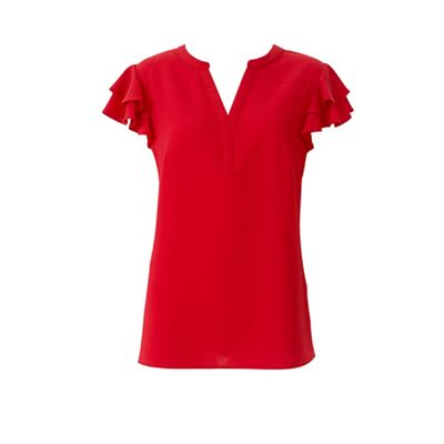 lavitta---red-frill-sleeves-blouse by lavitta