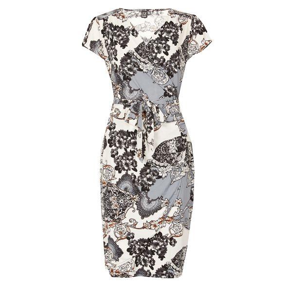 London print butterfly Multicoloured Izabel wrap dress 1RqdwWHSxw